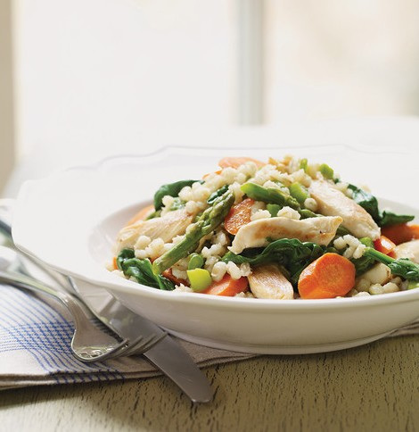 barley pilaf with vegetables and chicken